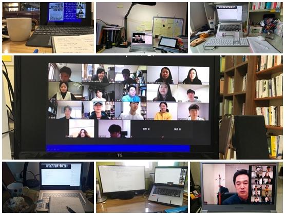 세명대 저널리즘스쿨 학생들이 줌(zoom) 이용해 '취재보도론'을 듣고 있는 각자의 상황을 사진으로 담았다. (사진=세명대 저널리즘스쿨)